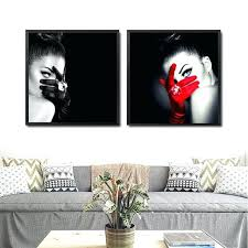 make up fashion wall art canvas painting black red picture and white triangles abstract 4 panel