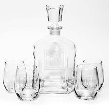 personalized capitol liquor decanter stemless wine glasses set