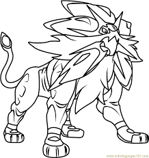 Small Picture Solgaleo Pokemon Sun and Moon Coloring Page Free Pokmon Sun and