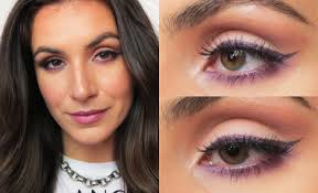 monochromatic purple makeup great for brown hazel green eyes you