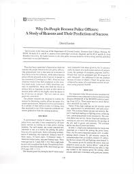 Why To Become A Police Officer Pdf Why Do People Become Police Officers A Study Of Reasons And
