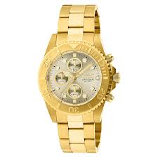 invicta watches shop amazon uk invicta unisex pro diver quartz watch beige dial chronograph display and gold plated bracelet 1774