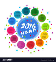 Circle Calendar Template Calendar Template With Colorful Circles For 2016