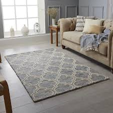 details about medina grey cream trellis pattern wool rug in various sizes and runner