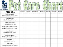 Pet Care Requirement 5 Keep A Chart For Two Weeks Listing