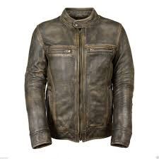 men s brown distressed motorcycle real sheepskin leather cafe racer jacket front