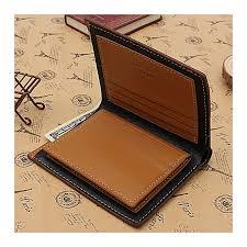 men s genuine leather wallet id name card holder money purse slim bifold clip blue