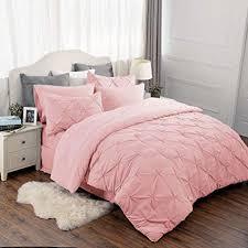 Amazon.com: Bedsure Pinch Pleat Pink 8 Piece Comforter Set King Size ...