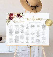 Etsy Wedding Seating Chart Alphabetical Alphabetical Seating Chart Wedding Seating Chart Find Your Seat Wedding Table Plan Wedding Sign Printable Us Uk Poster Sizes Marsala