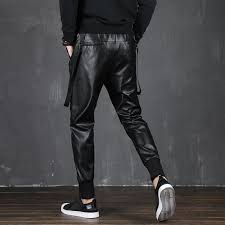 men in leather pants elastic tapes of casual men s fashion of the motorcycle pants hip hop