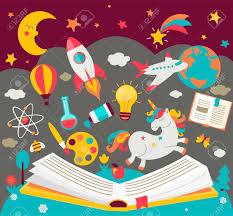 concept of kids dreams while reading the book open book with many fabulous elements