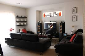 theater room lighting. Theater Room Ideas On A Budget Sectional Brown Sofa Living Wall Design Arch Lamp Lighting Decor Glass Table Furnished