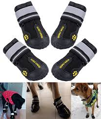 Qumy Dog Boots Size Chart Qumy Dog Boots Waterproof Shoes For Large Dogs With Reflective Velcro Rugged Anti Slip Sole Black 4pcs Size 6 2 9x2 5 Inch