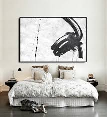 handmade extra large acrylic painting on canvas black white painting abstract art horizontal modern