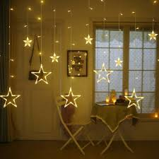 Curtain String Led Lights Quace 138 Led Curtain String Lights With 8 Flashing Modes Decoration 12 Stars Warm White