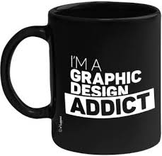 Huppme I,m A <b>Graphic Design Addict</b> Black 350ML Ceramic Coffee ...