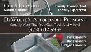 dewolfe s affordable plumbing wylie tx 75098 homeadvisor
