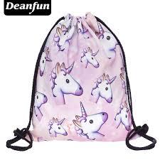 Drawstring Bag Pattern Amazing Deanfun 48D Printing Schoolbags Unicorn Pattern Women Drawstring Bag
