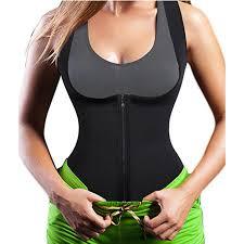 Us 14 99 15 Off Women Black Underbust Neoprene Shaper Gymwear Waist Trainer Plus Size Vest Corset Zipper Slimming Underwear Waist Cincher Tops In
