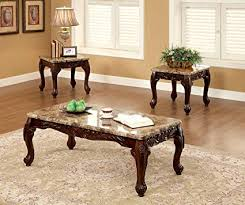 traditional dark oak furniture. Furniture Of America Beltran 3-Piece Traditional Faux Marble Top Accent Tables Set, Dark Oak I