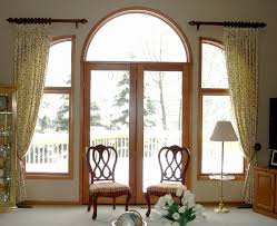 Stylish Clear Glass Double Swing Front Door Ideas With Amazing Arched  Windows Trim Also Bronze Window Curtain Bar Added White Shade Floor Lamps  And Old ...