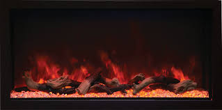 45 deep and extra tall indoor or outdoor built in only electric fireplace with black steel surround