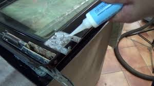 very often the oven and cooker door glass is sealed or glued into place using high heat resistant glue this same glue is used in some cases to also fix