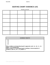 Seating Chart Evidence Of Learning Log