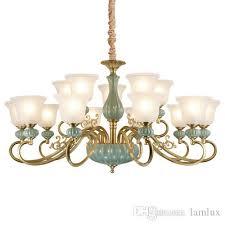 american pendant chandelier lights elegant minimalist hotel living room lamps retro copper ceramic glass european led chandeliers lighting multi coloured