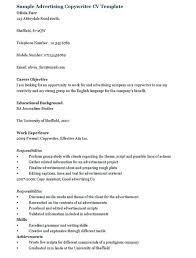 Copywriter Job Description Interesting Advertising Copywriter Resume Template Sample Entry Level Uwaterlooco