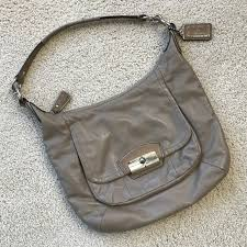 Coach Kristin Hobo Taupe Leather Crossbody Purse