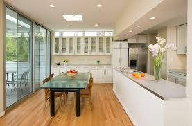 Open galley kitchen and dining area contemporary-dining-room