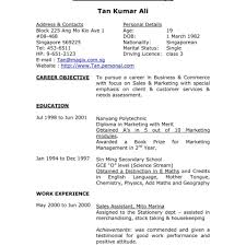 Resume Example Of Format For Job How Toite Singapore Student