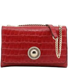 red croc embosed faux leather chain shoulder bag nextprev prevnext