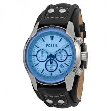 fossil blue glass chronograph black leather strap men s watch fossil blue glass chronograph black leather strap men s watch ch2564