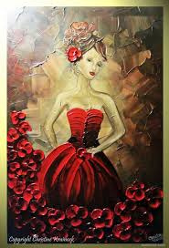 woman red dree palette knife paintings