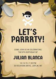 Scroll Birthday Invitations Customize 4 006 Pirate Party Invitation Templates Online Canva