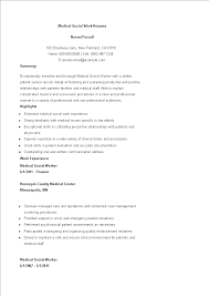 Example Of Social Work Resumes Medical Social Work Resume Example Templates At