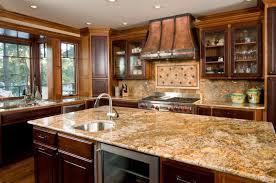 beauteous cream brown colors kitchen quartz countertops features drak brown wooden kitchen island and dark brown wooden kitchen cabinets and built in fridge