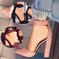 Plus <b>size 34-43</b> Fashion Sexy Heels Suede Thick High Heeled Shoes