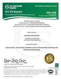 Gypsum Association Fire Resistance Design Manual Ga 600 Esr 1338 Gypsum Association Icc Es