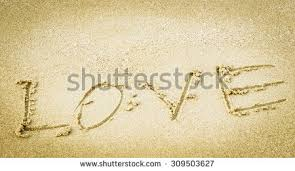 stock photo somebody wrote love letters in the sand