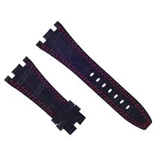 details about 28mm leather watch strap band for ap 42mm audemars piguet black red stitching b6