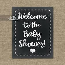 Baby Shower Sign Baby Shower Welcome Sign White Chalkboard Baby