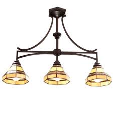 hampton bay addison 3 light oil rubbed bronze kitchen island light with tiffany style stained
