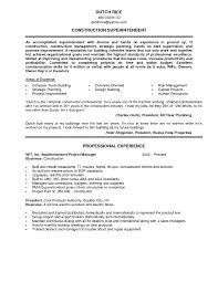 construction superintendent resume examples construction resume