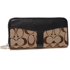 Coach Legacy Signature Large Black Wallets DUR