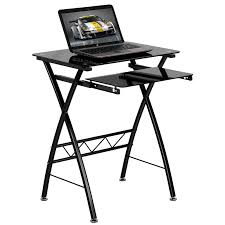 black tempered glass computer desk with pull out keyboard tray nan cp 60 gg