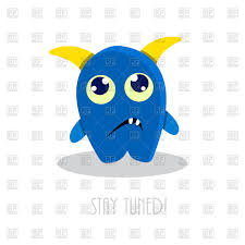stay tuned text with funny sad cartoon monster vector image vector ilration of plants and to zoom