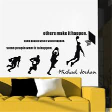 Michael Jordan Wall Decals Basketball Dunk Sport Wall Stickers Decal Stride  Lay-UP Sports Quotes